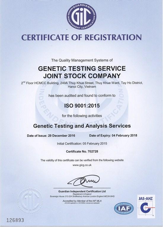 Giấy chứng nhận - Gentis